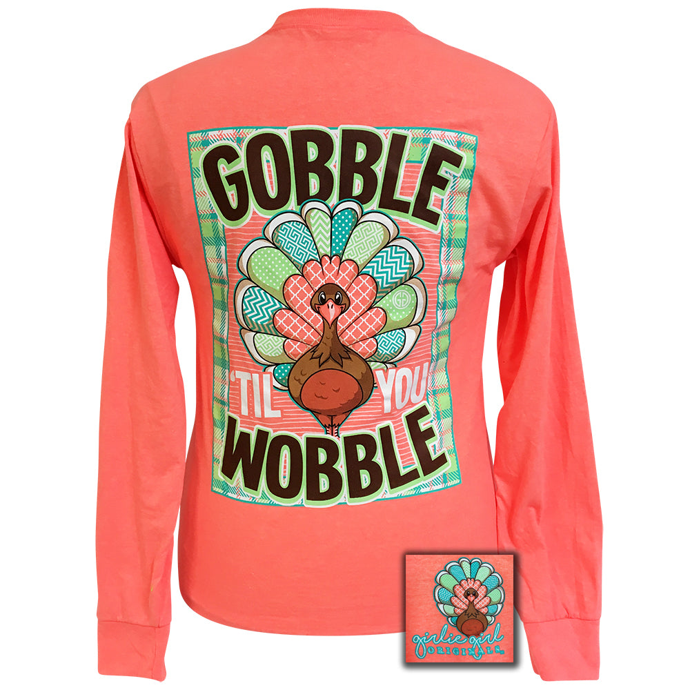 Gobble Retro Heather Coral Long Sleeve