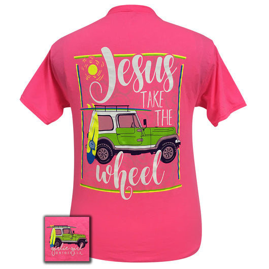 Jesus Take The Wheel-Jeep Neon Pink Short Sleeve
