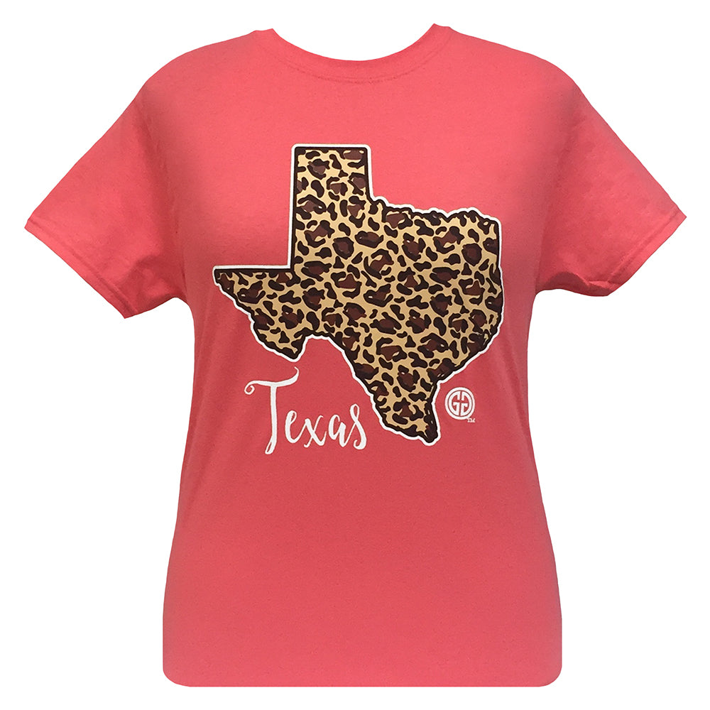 Leopard State Texas Coral Silk Short Sleeve