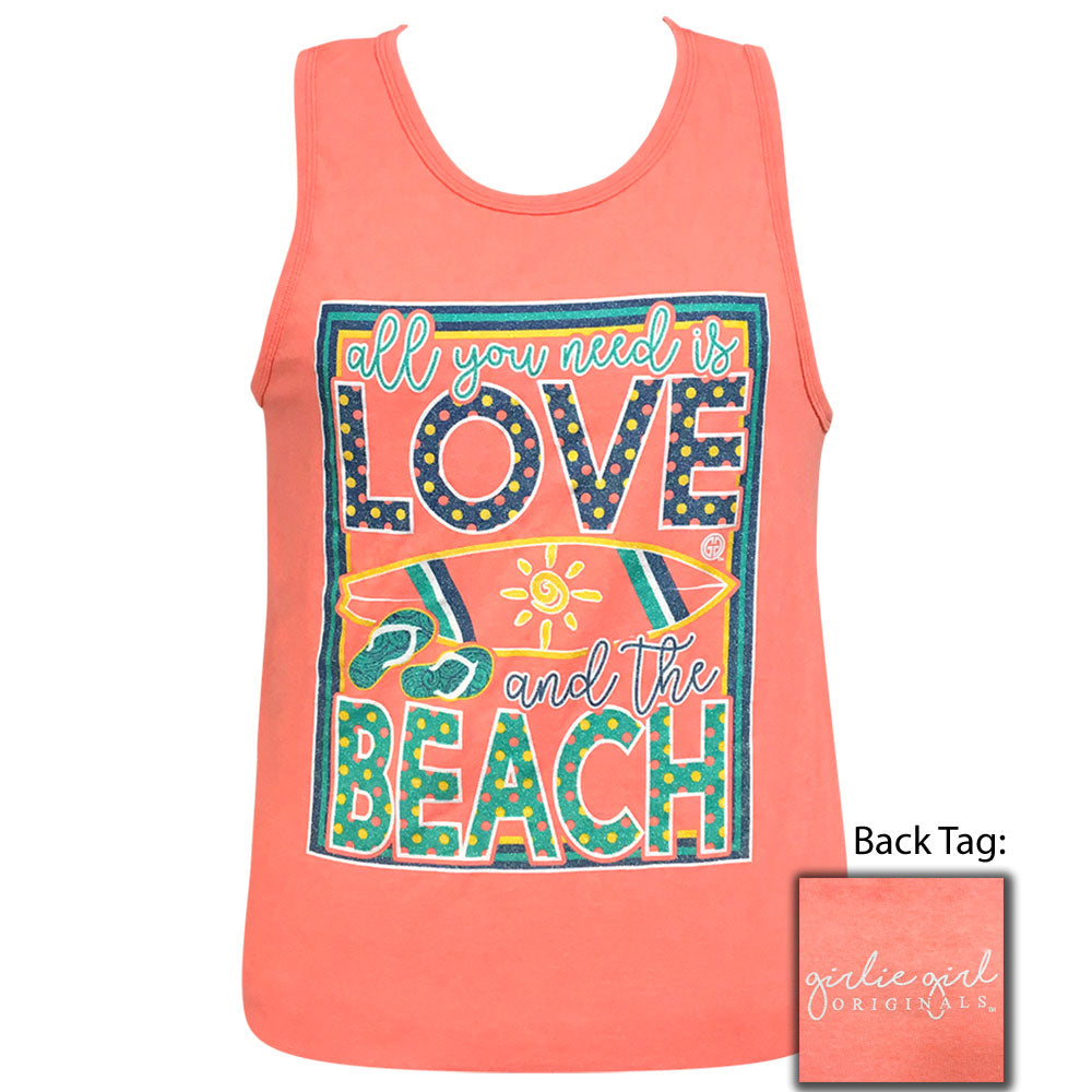 Love Beach Neon Peach Pigment Dyed Tank