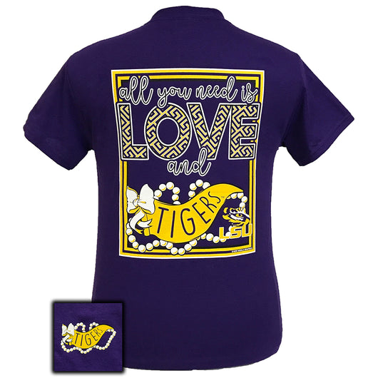 All You Need Is Love and LSU Short Sleeve Purple