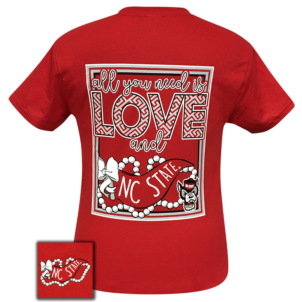 All You Need Is Love and NC State Short Sleeve Red