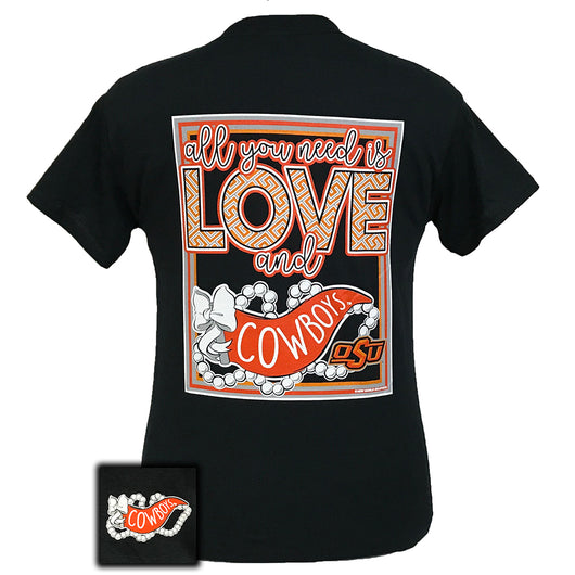 All You Need Is Love and Oklahoma State Short Sleeve Black