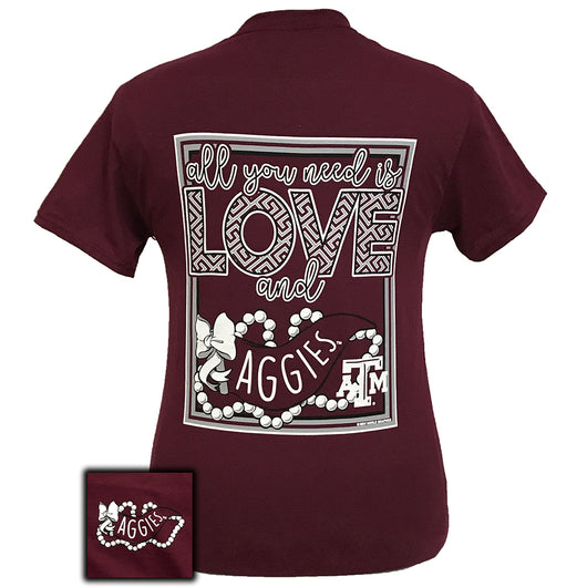 All You Need Is Love and Texas Short Sleeve Maroon