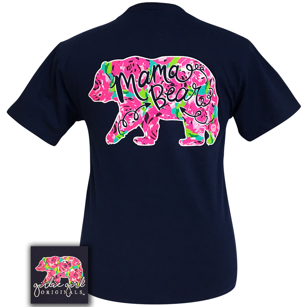 Mama Bear Floral Navy Short Sleeve