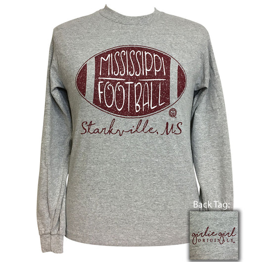 Mississippi Football Starkville Sports Grey Long Sleeve T-Shirt