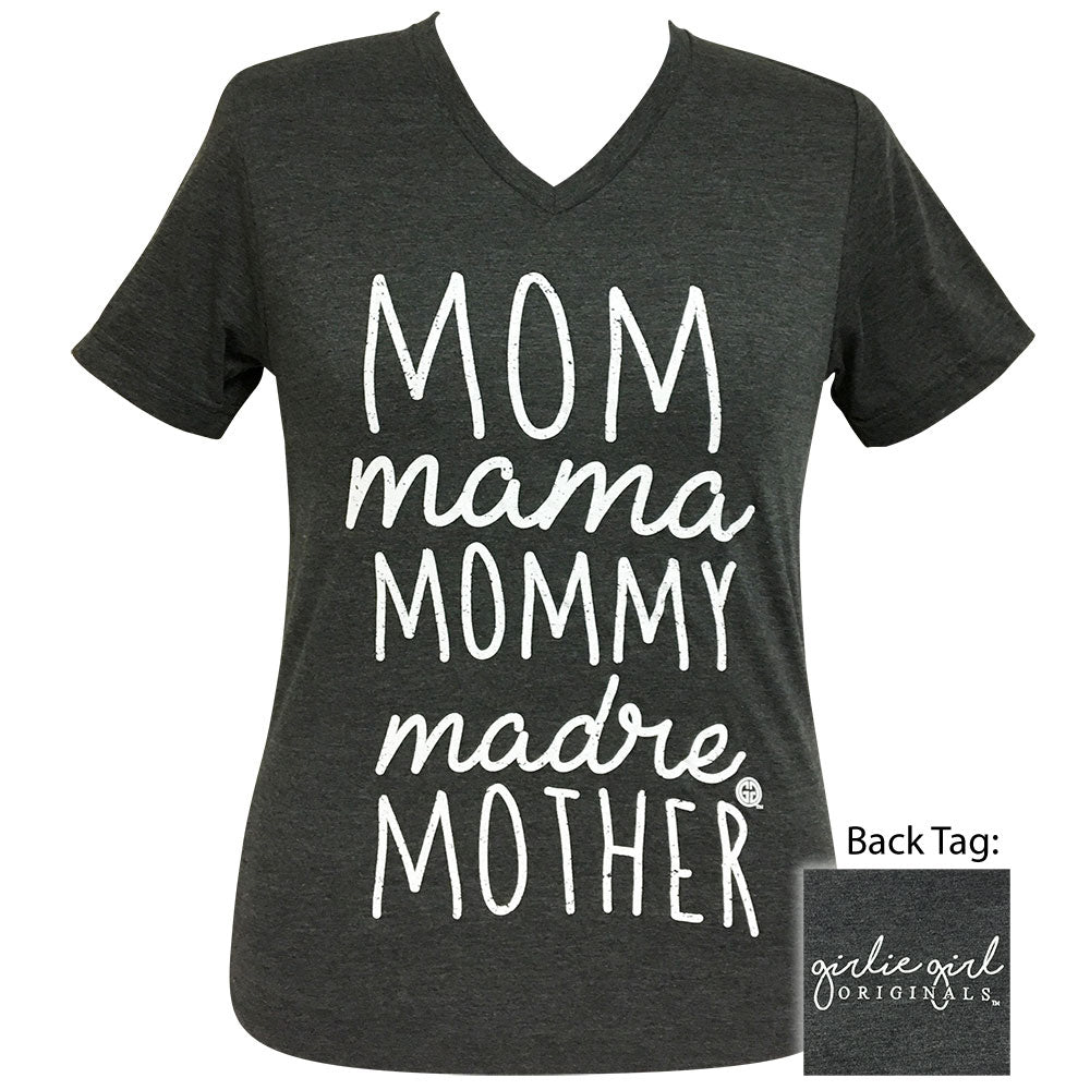 Mom Mother Dark Gray Heather V-Neck