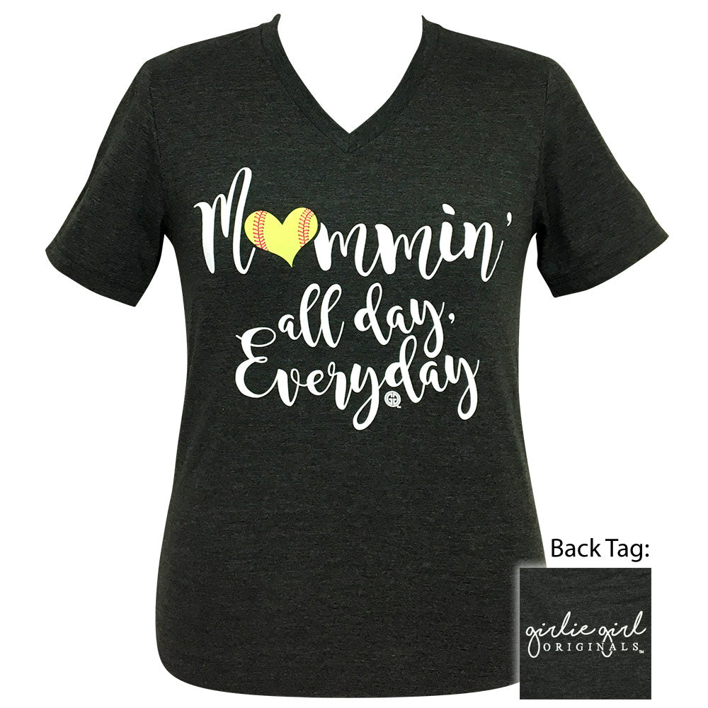 Mommin All Day Softball Dark Heather V-Neck