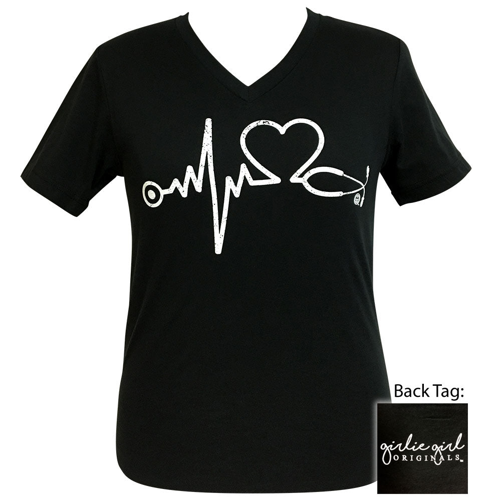 Nurse Vintage Black V-Neck