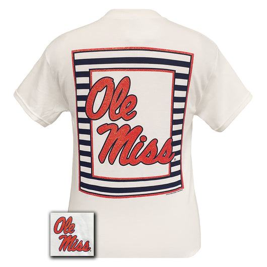 Glitter Logo Ole Miss White Short Sleeve