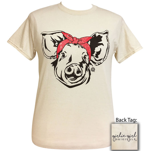 Paisley Bandana Pig Natural Short Sleeve Tee