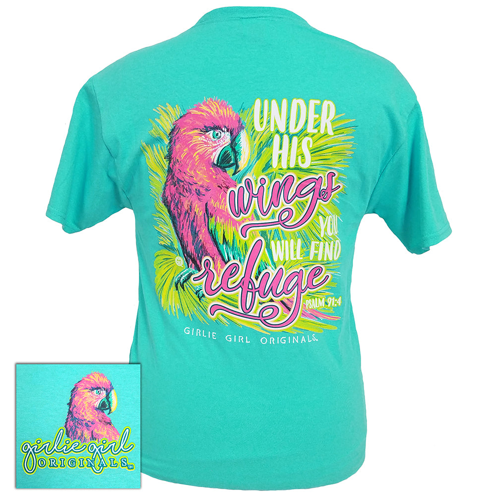 Under His Wings-Psalm 91:4 Scuba Blue Short Sleeve Tee