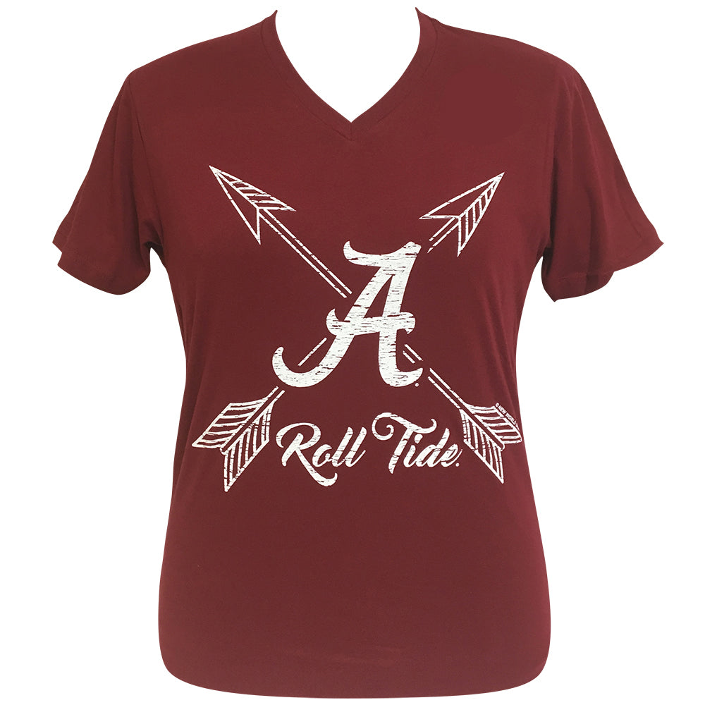 Arrows Roll Tide-Alabama Cardinal Red Short Sleeve V-Neck Tee