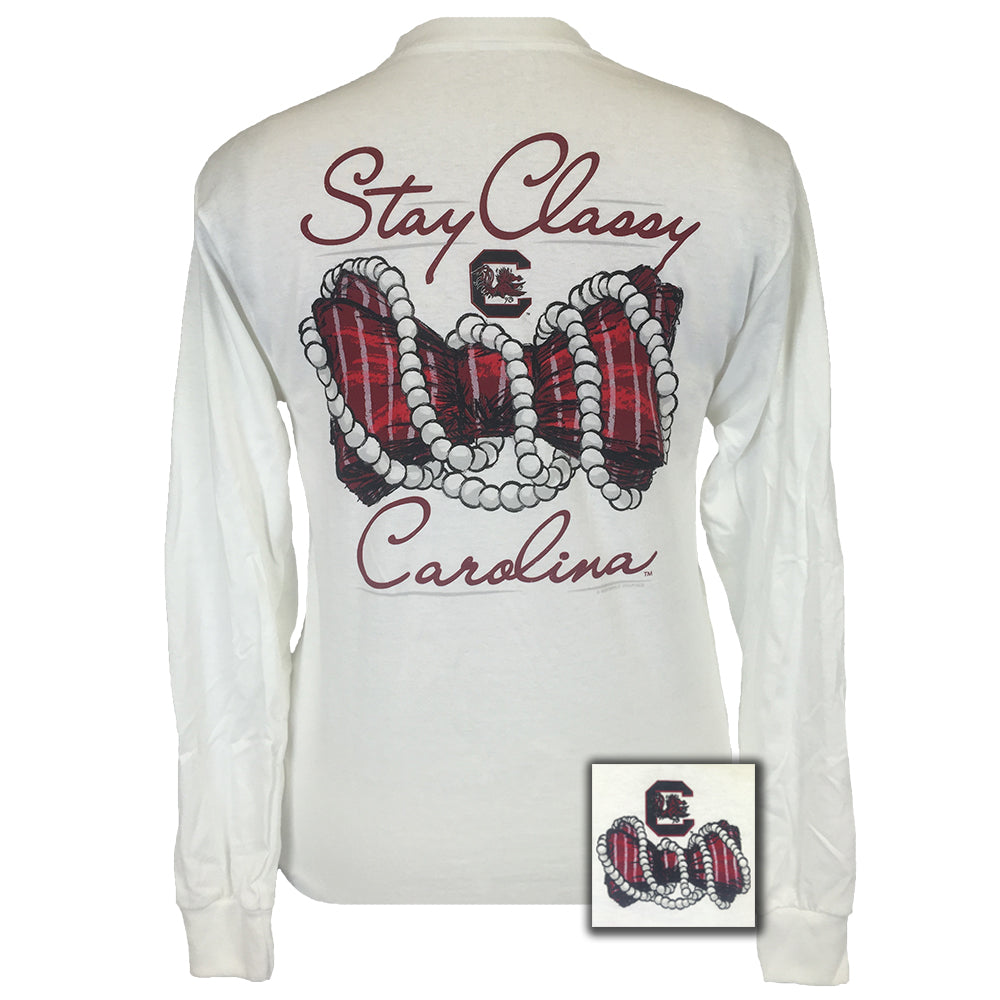 South Carolina Stay Classy White Long Sleeve