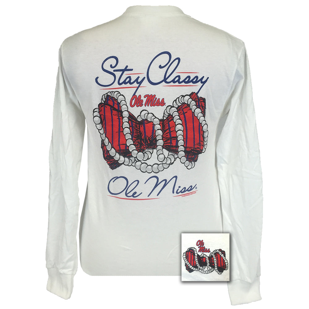 Ole Miss Stay Classy White Long Sleeve