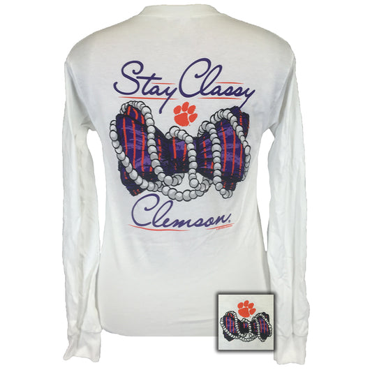 Clemson Stay Classy White Long Sleeve