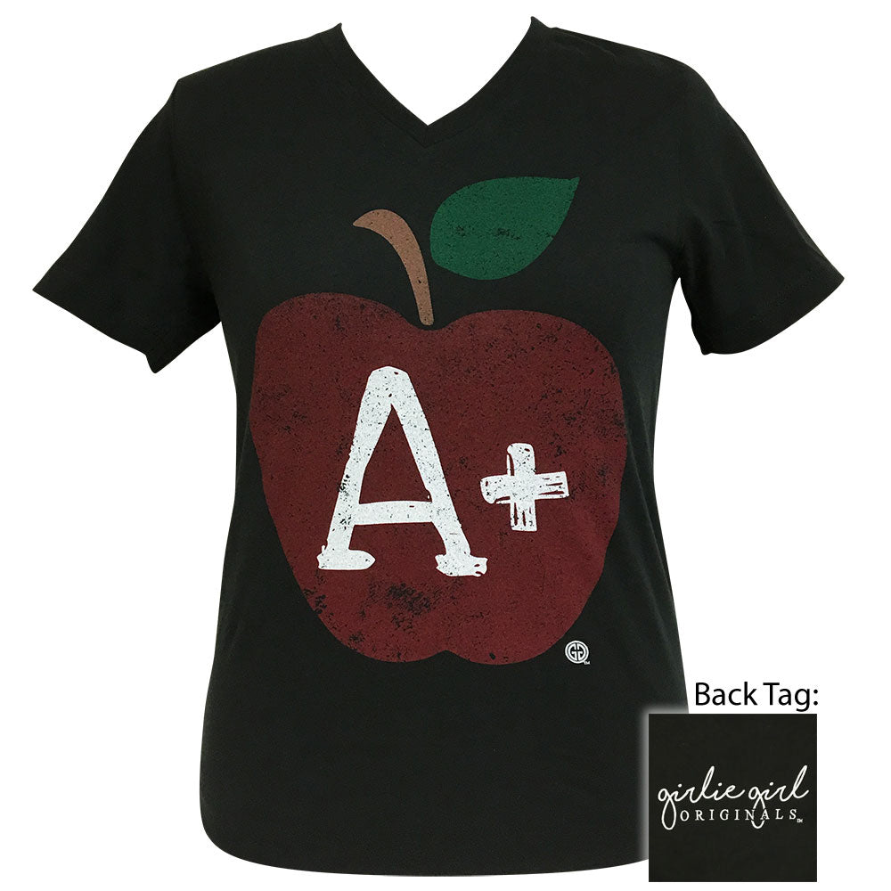 Teacher's Apple Vintage Black V-Neck