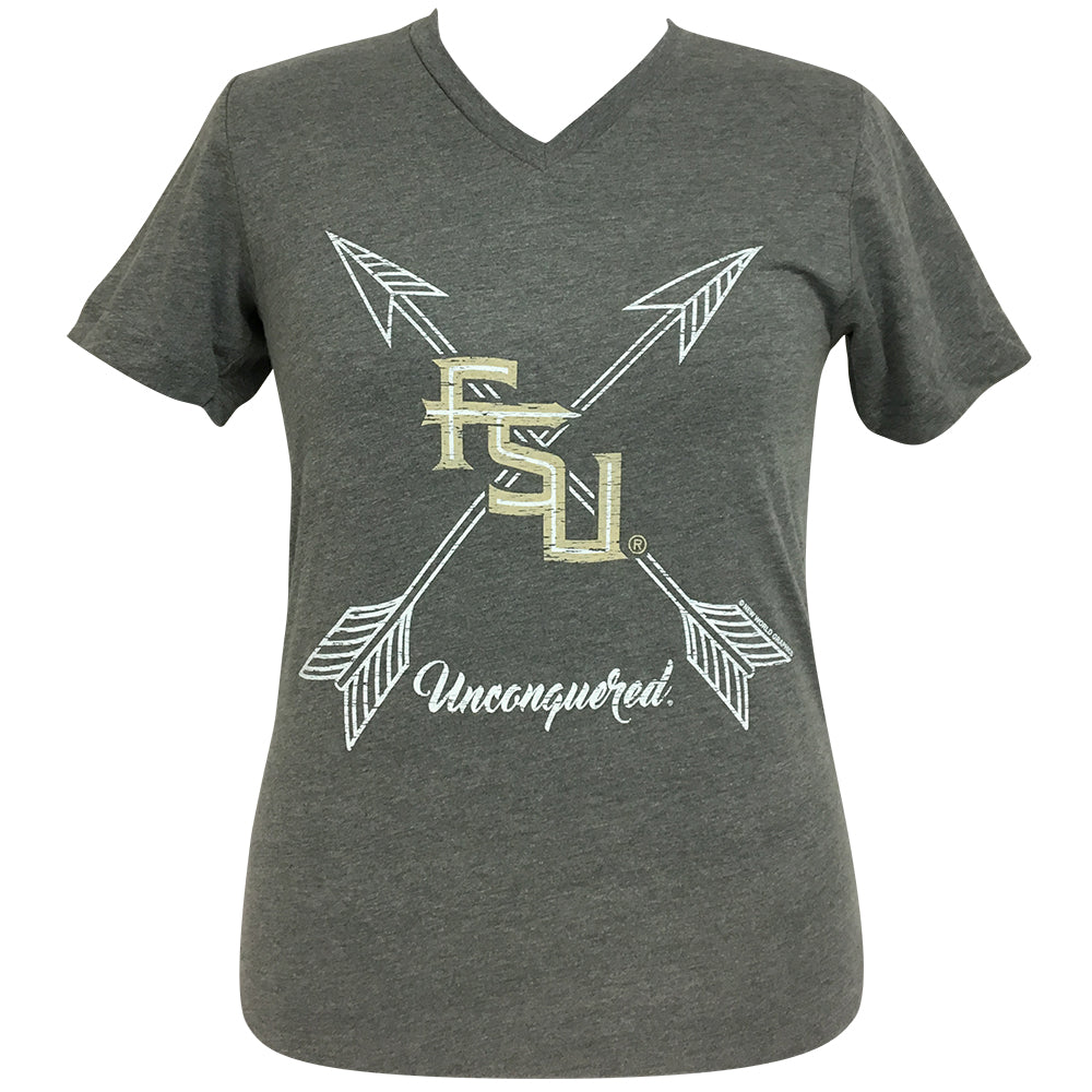 Arrows Unconquered  FSU Heather Stone Short Sleeve V-Neck Tee