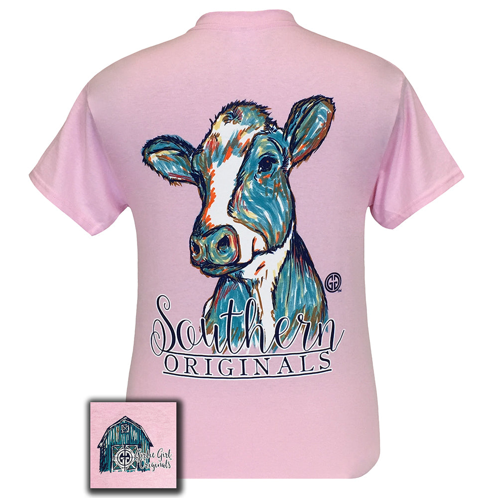 Watercolor Cow Short Sleeve Light Pink
