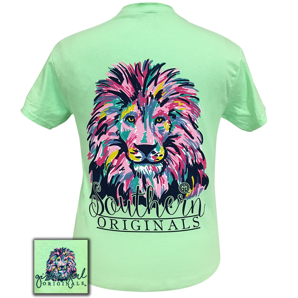 Watercolor Lion Mint Short Sleeve Tee