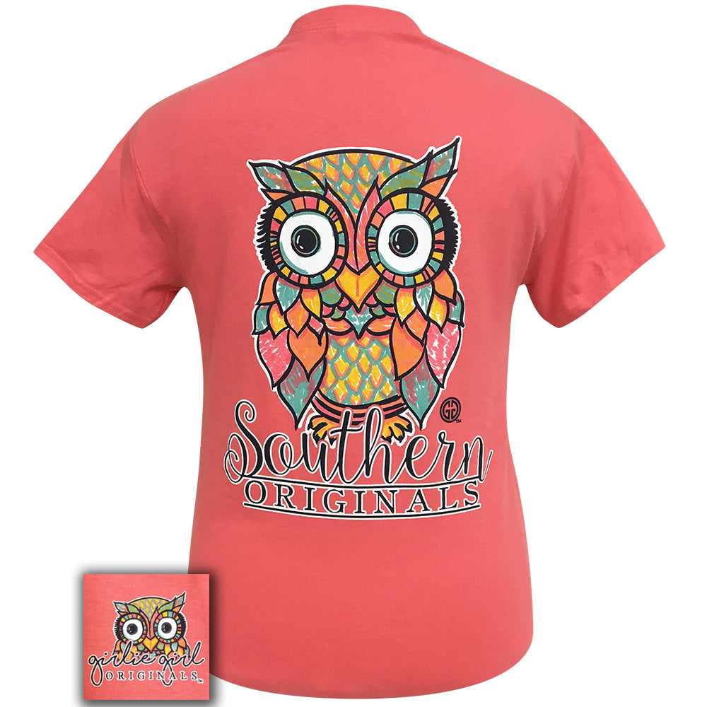 Watercolor Owl Coral Silk Short Sleeve Tee