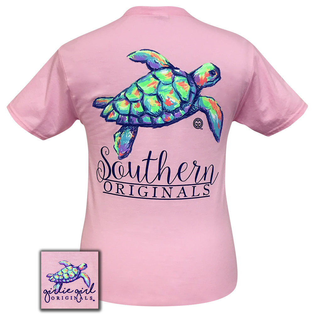 Watercolor Turtle Classic Pink Short Sleeve
