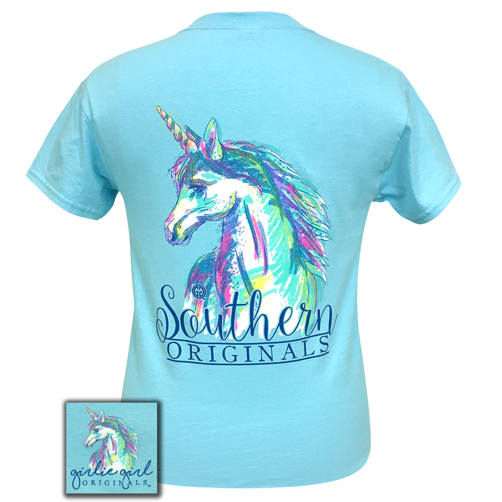 Watercolor Unicorn Sky Blue Short Sleeve