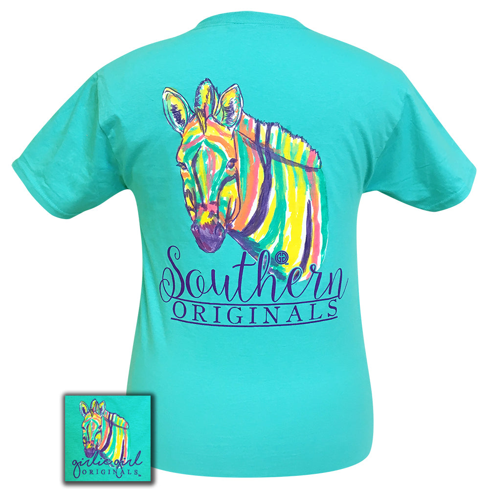 Watercolor Zebra Scuba Blue Short Sleeve