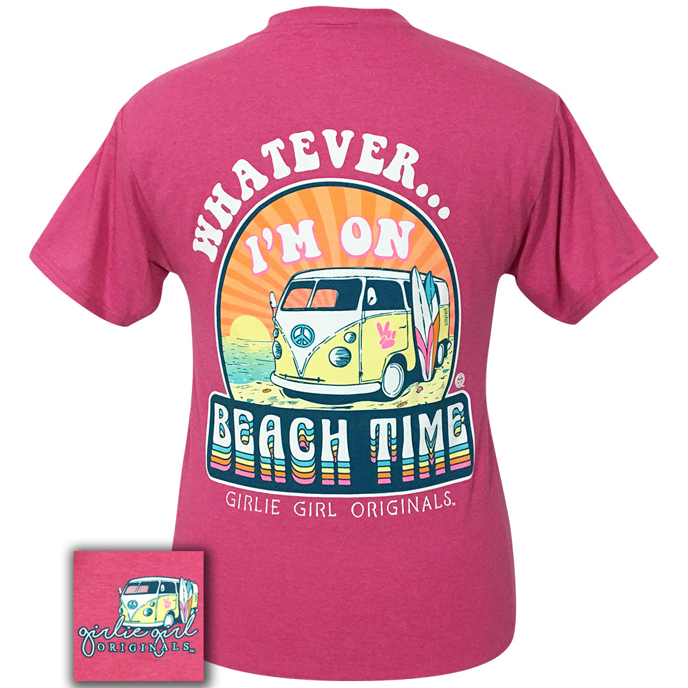 Whatever Beach Retro Heather Pink Short Sleeve Tee