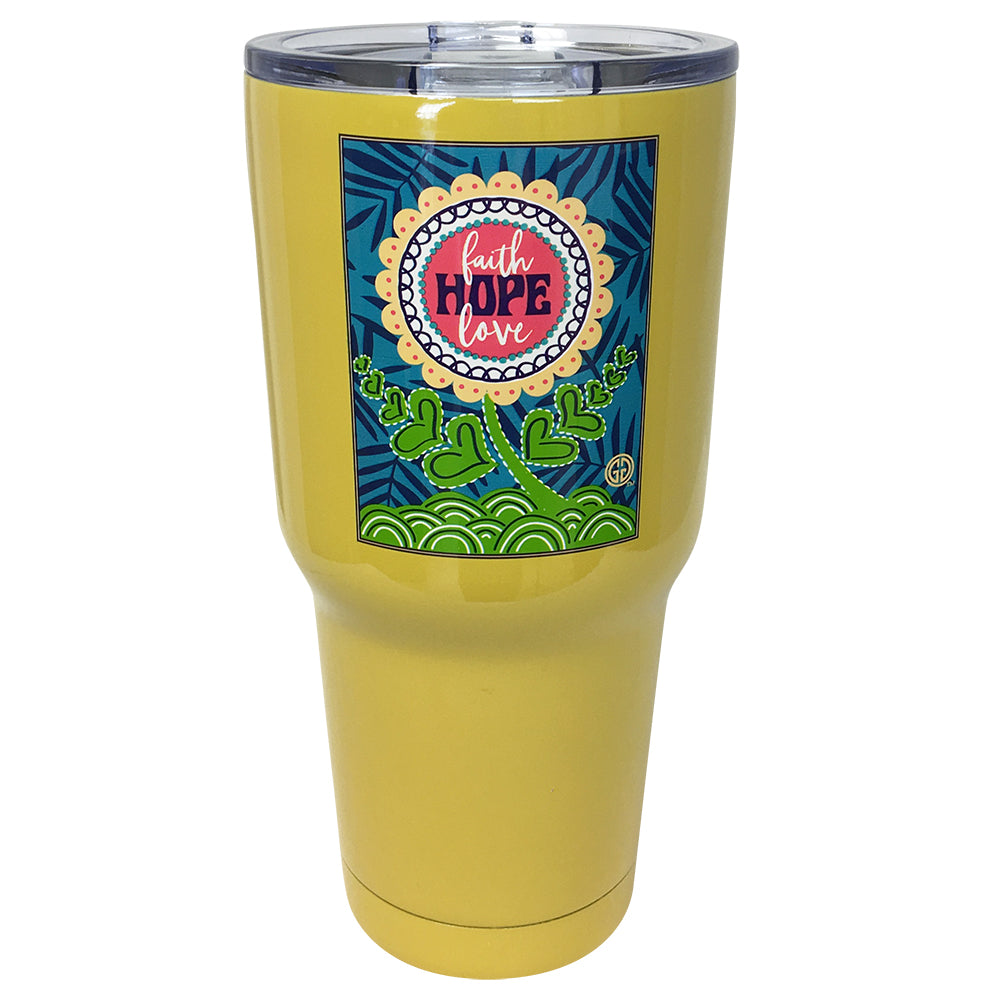TB2468 Faith Hope Love Yellow Stainless Steel Tumbler