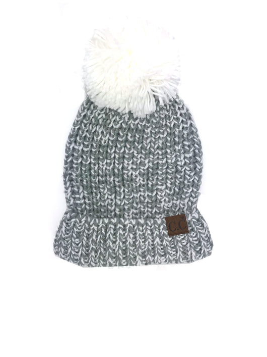 HAT-123 NATURAL GREY IVORY CHUNKY BEANIE