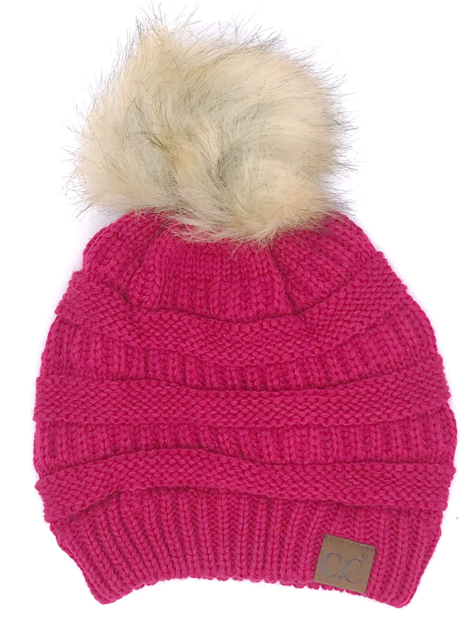 CC-43 BEANIE W/FAUX FUR POM - HOT PINK