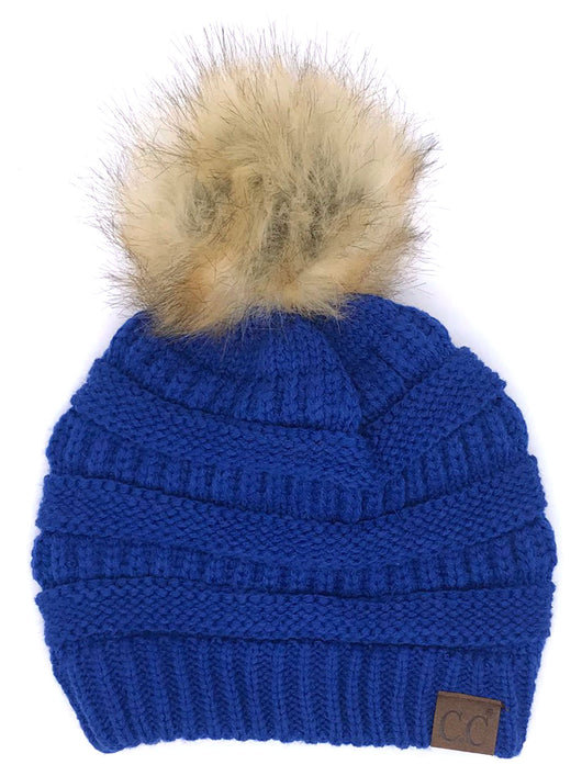 Hat-43 BEANIE W/FAUX FUR POM - ROYAL