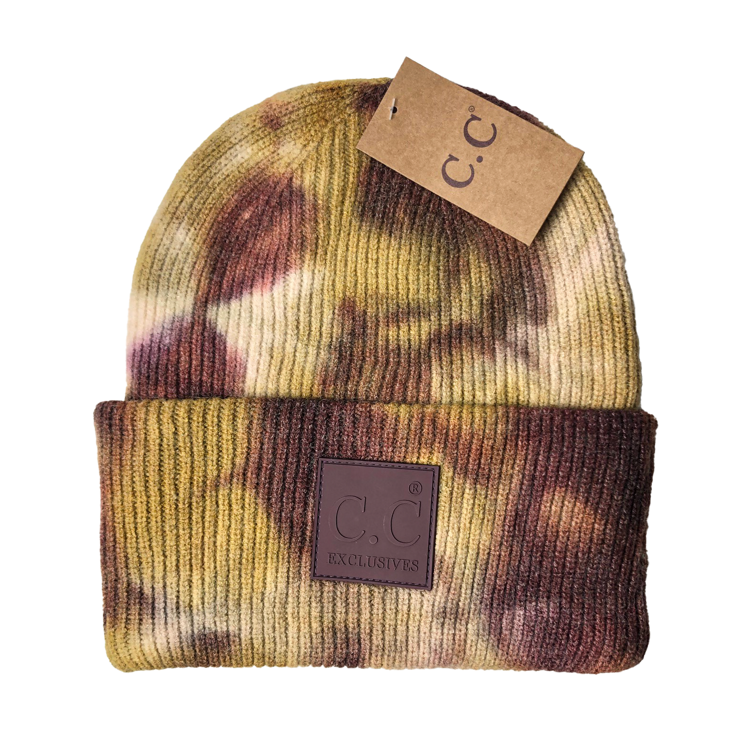 HAT-7380 Tie Dye Beanie with C.C Rubber Patch - Antique Moss/Wild Ginger