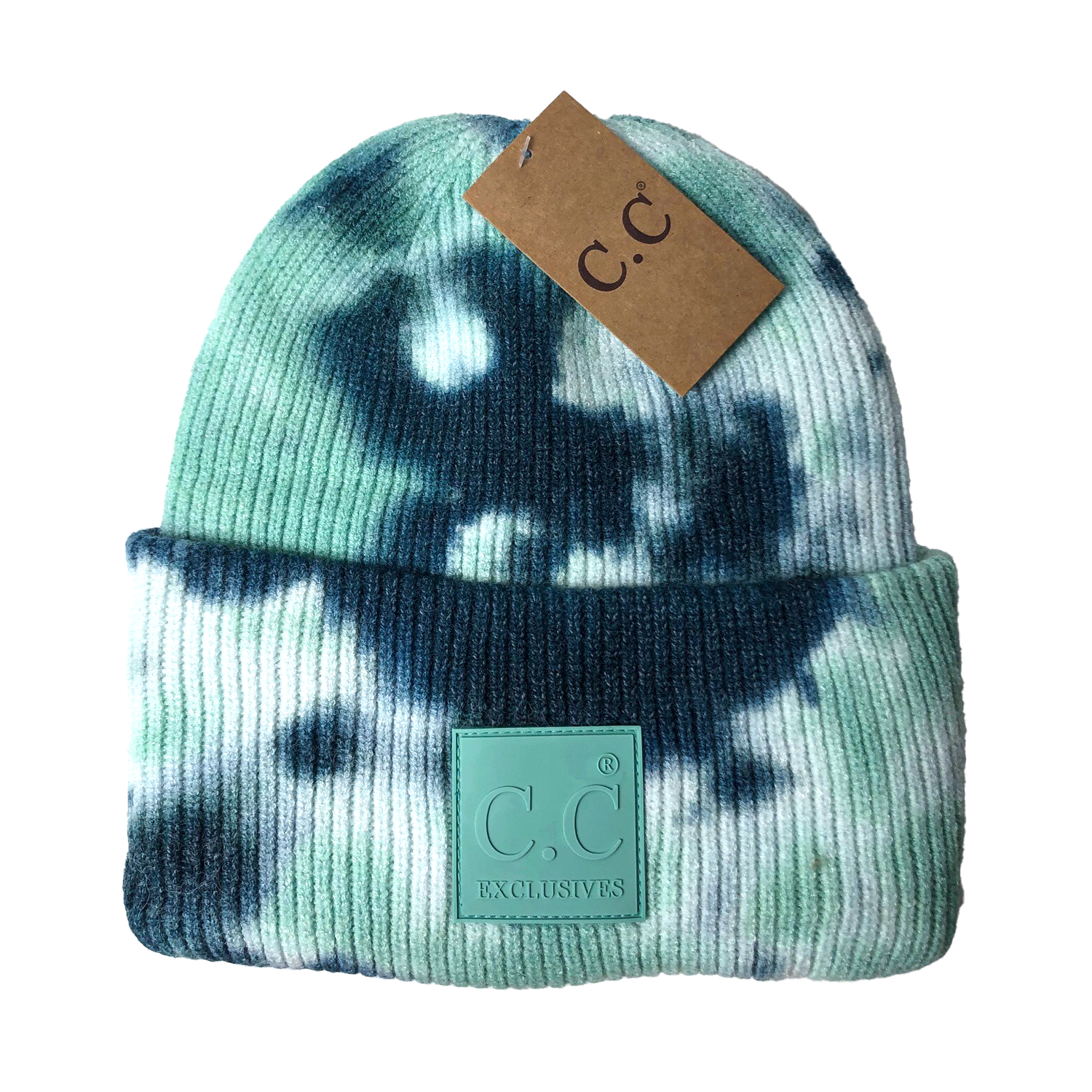 HAT-7380 Tie Dye Beanie with C.C Rubber Patch - Deep Teal/Sea Green