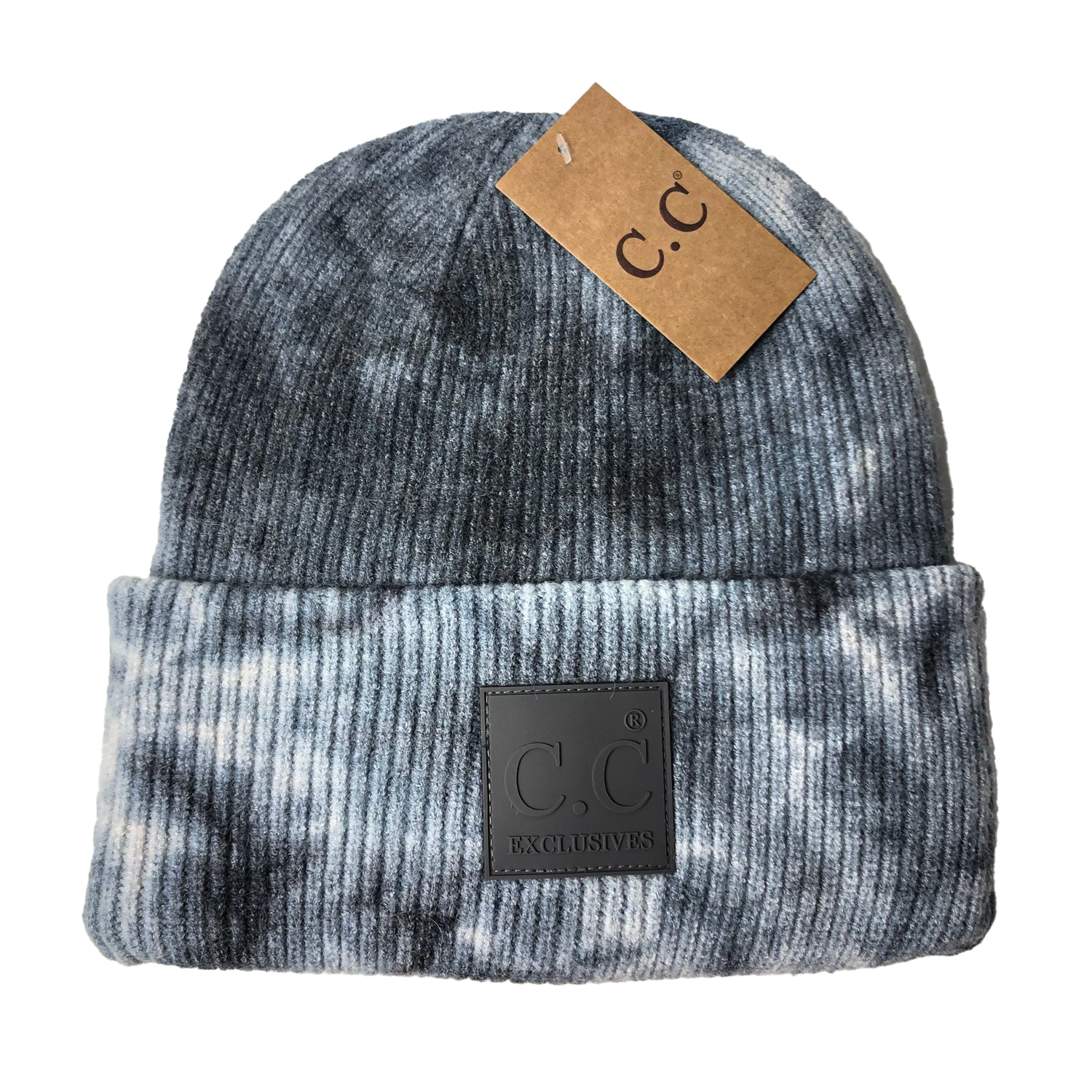 HAT-7380 Tie Dye Beanie with C.C Rubber Patch - Dark Grey/Light Grey