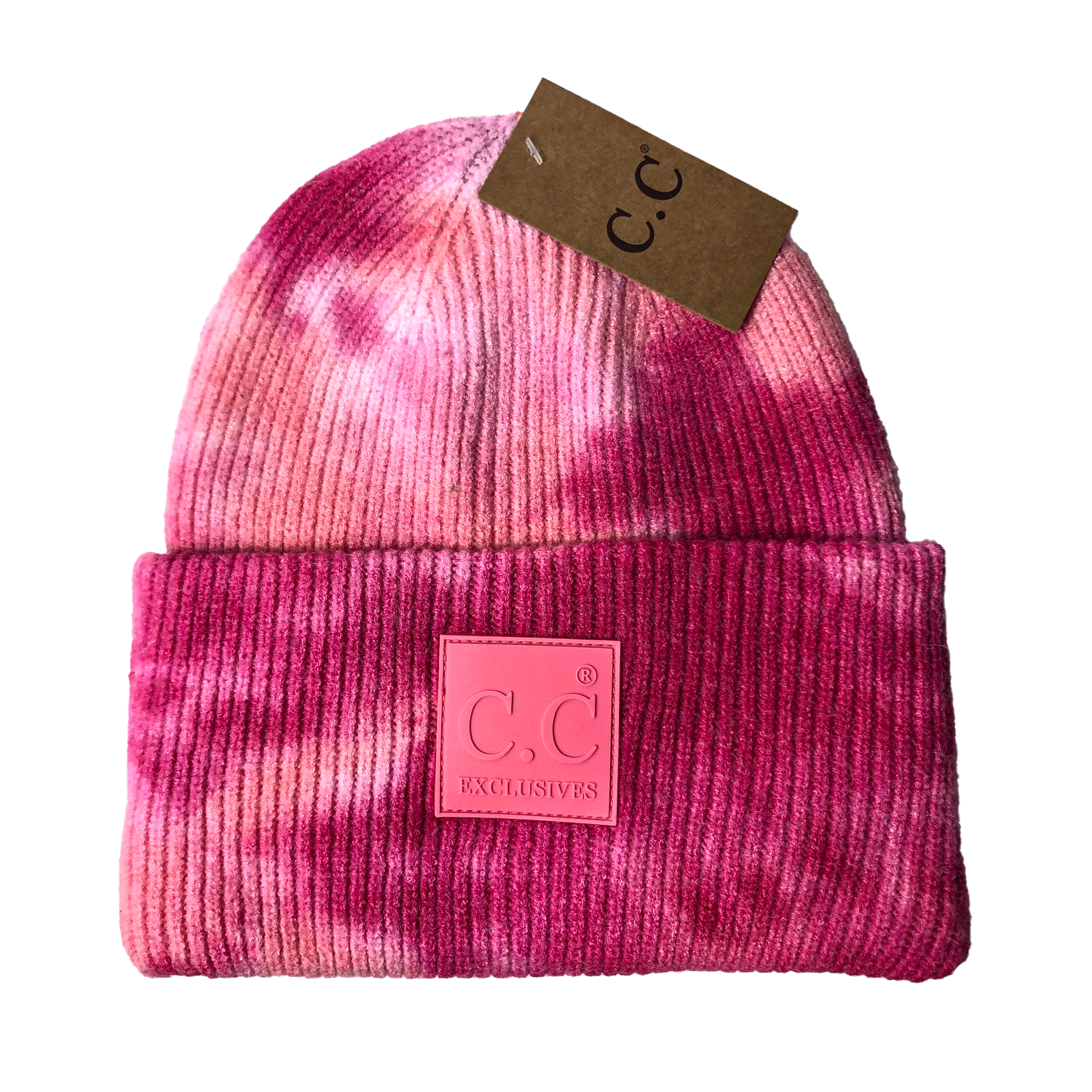 HAT-7380 Tie Dye Beanie with C.C Rubber Patch - Fuschia/Pink