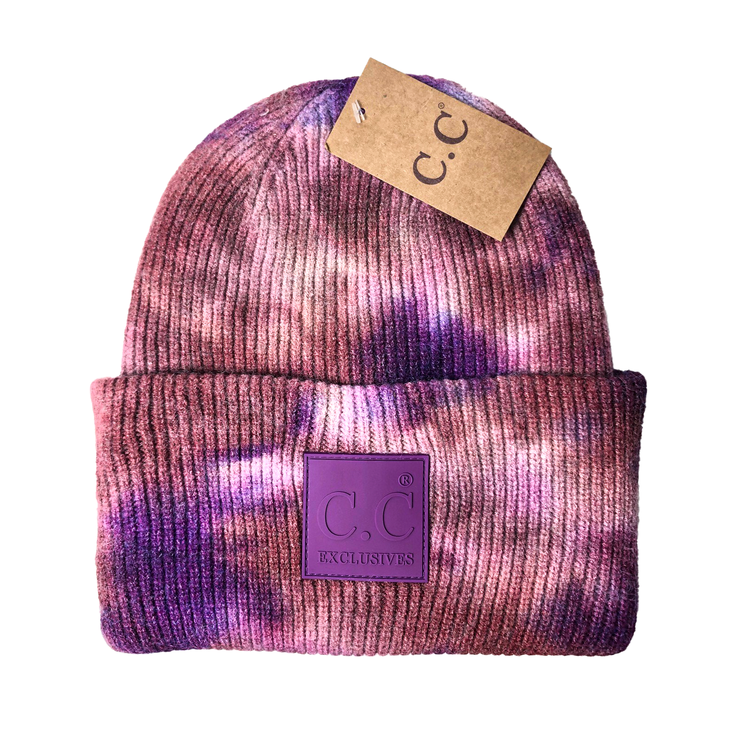 HAT-7380 Tie Dye Beanie with C.C Rubber Patch - Iris/Wild Ginger