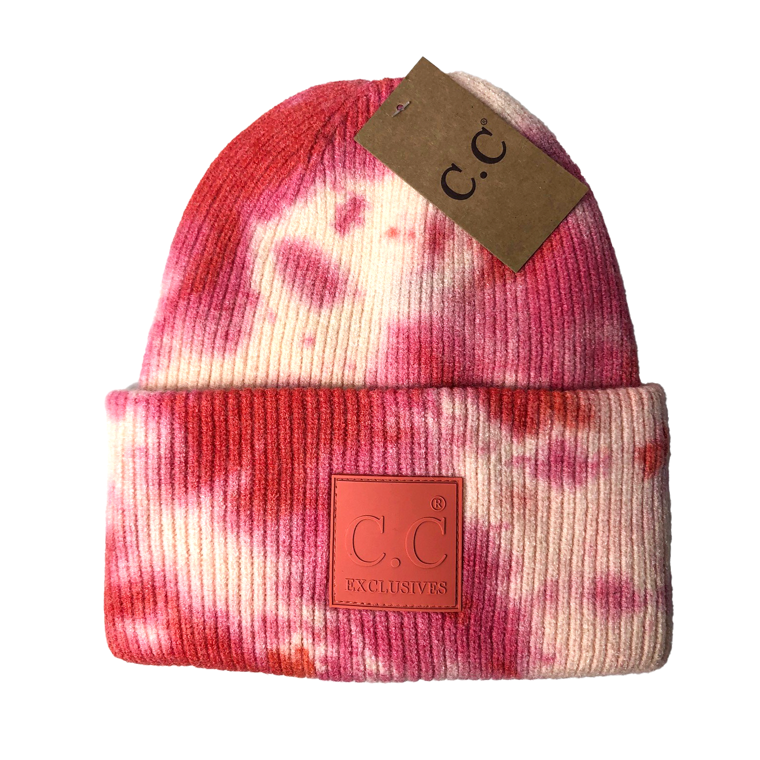 HAT-7380 Tie Dye Beanie with C.C Rubber Patch - Orange/Peach