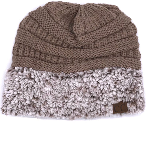 HAT-88 SHERPA BEANIE TAUPE/HEATHER BROWN CUFF