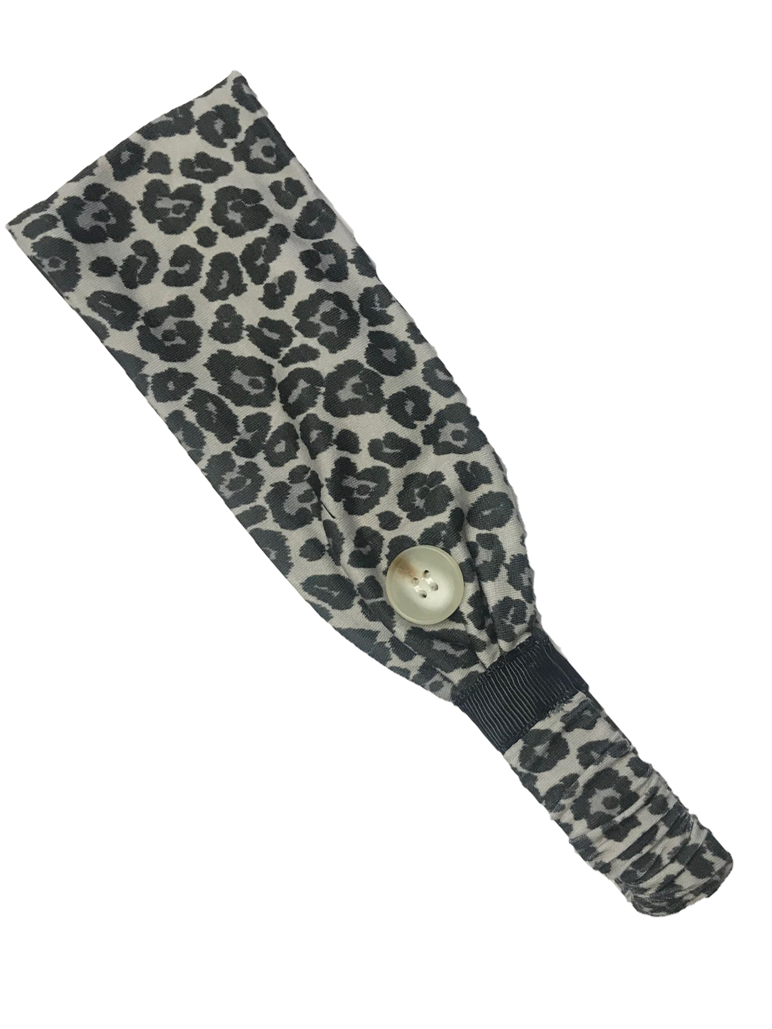 HB-2020 Adult Headband Leopard Black