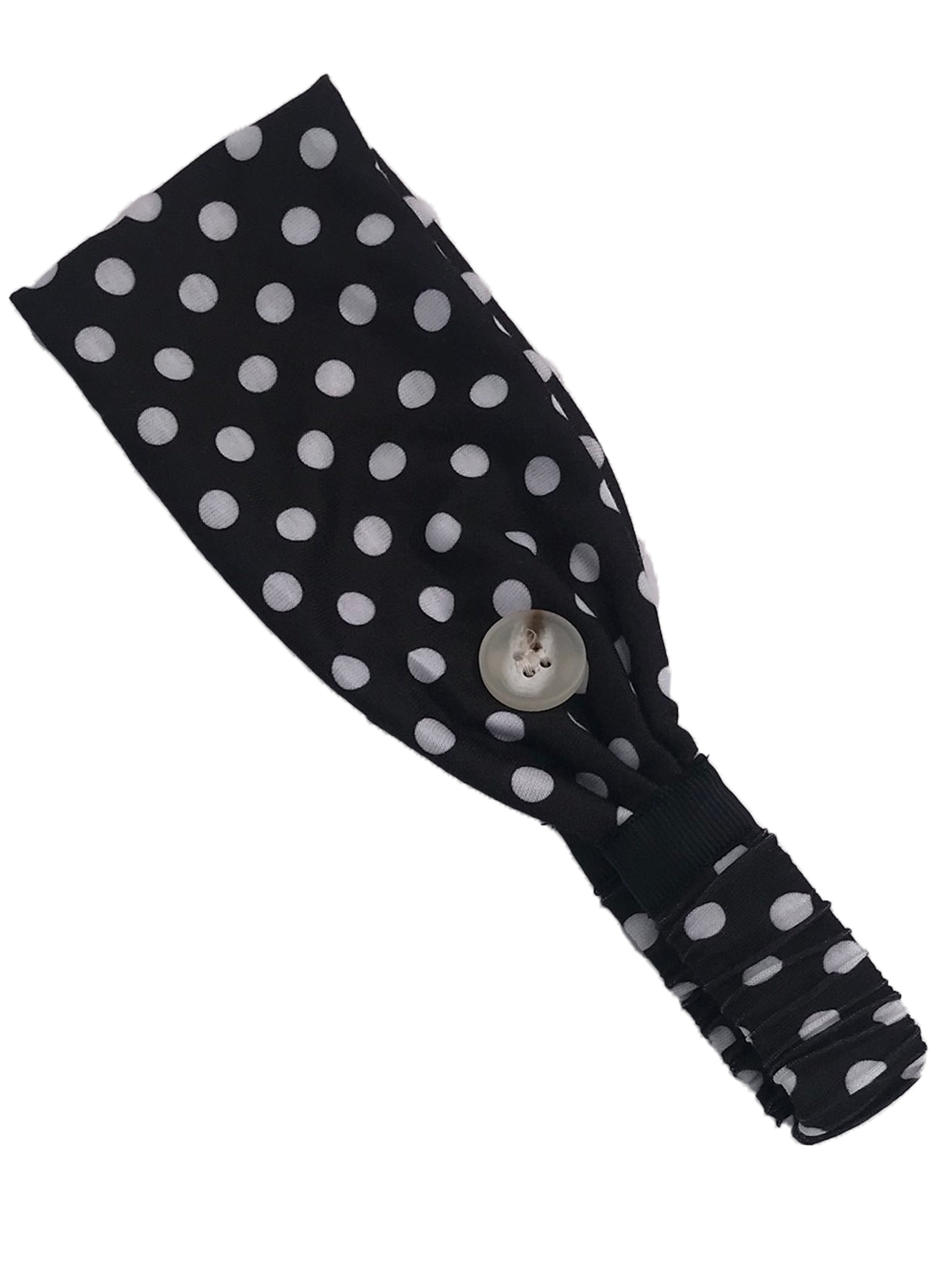 HB-2020 Adult Headband Black White Dot