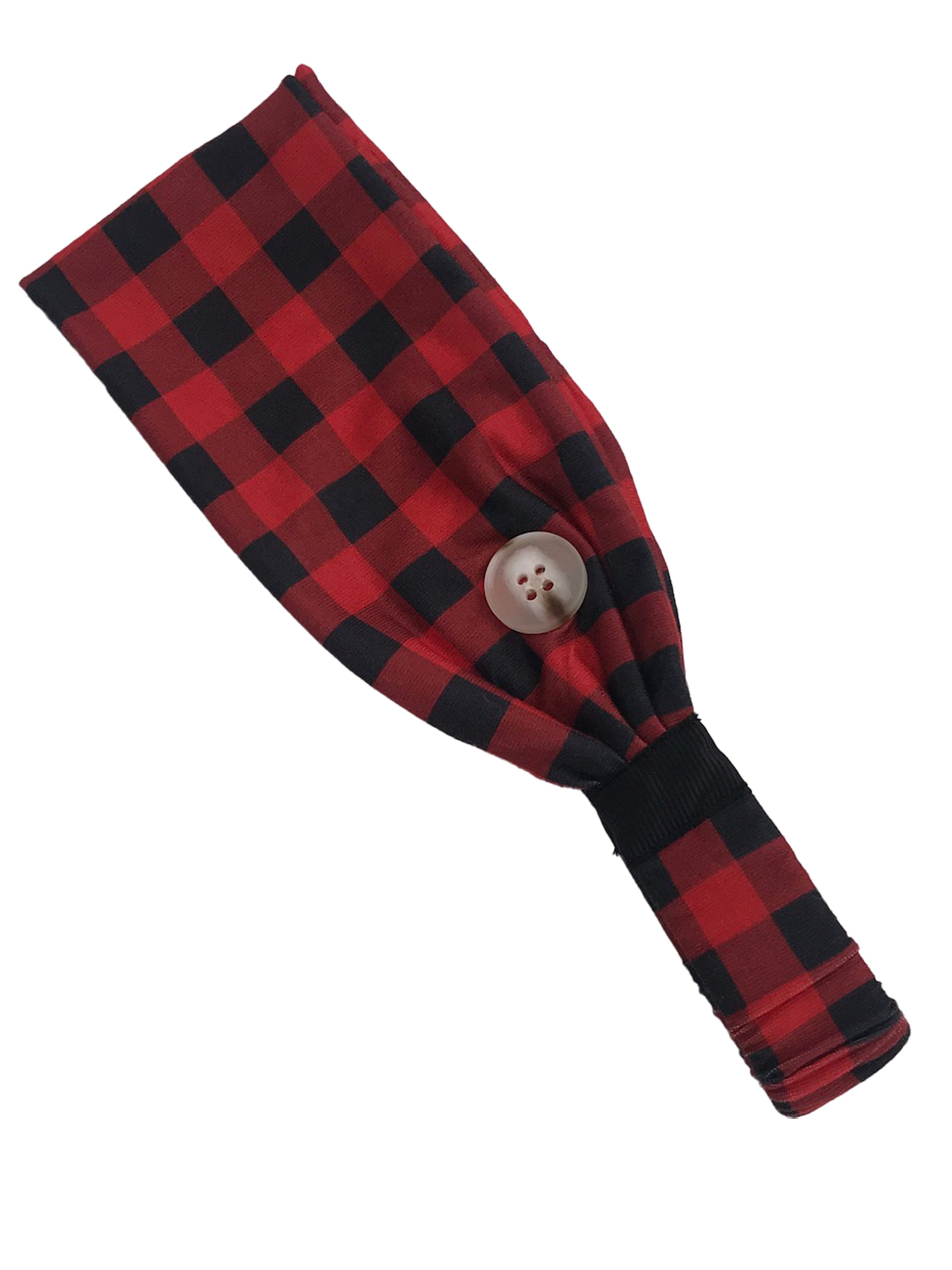 HB-2020 Adult Headband Buffalo Plaid Red