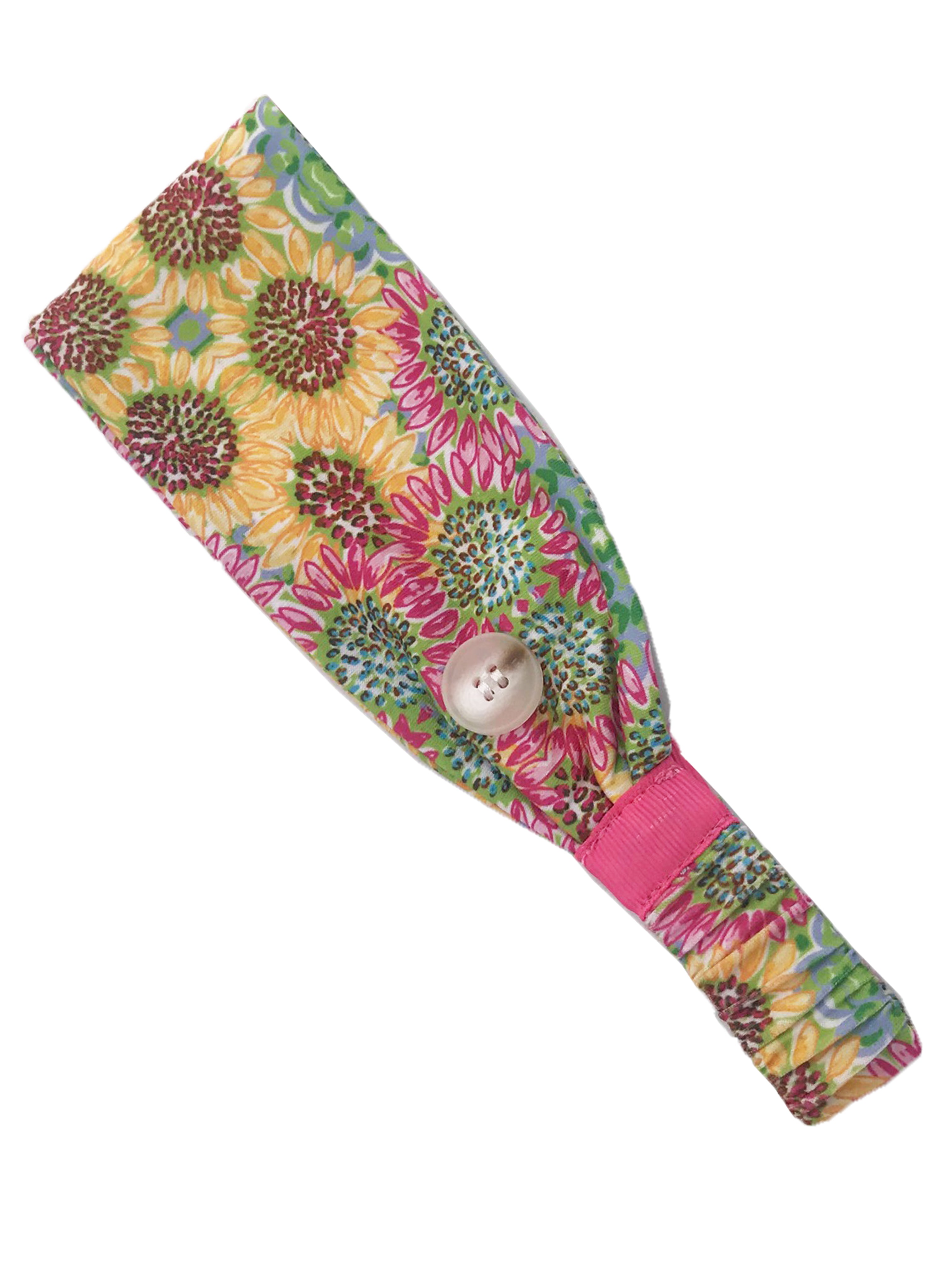 HB-2020 Adult Headband Sunflower Pink Yellow