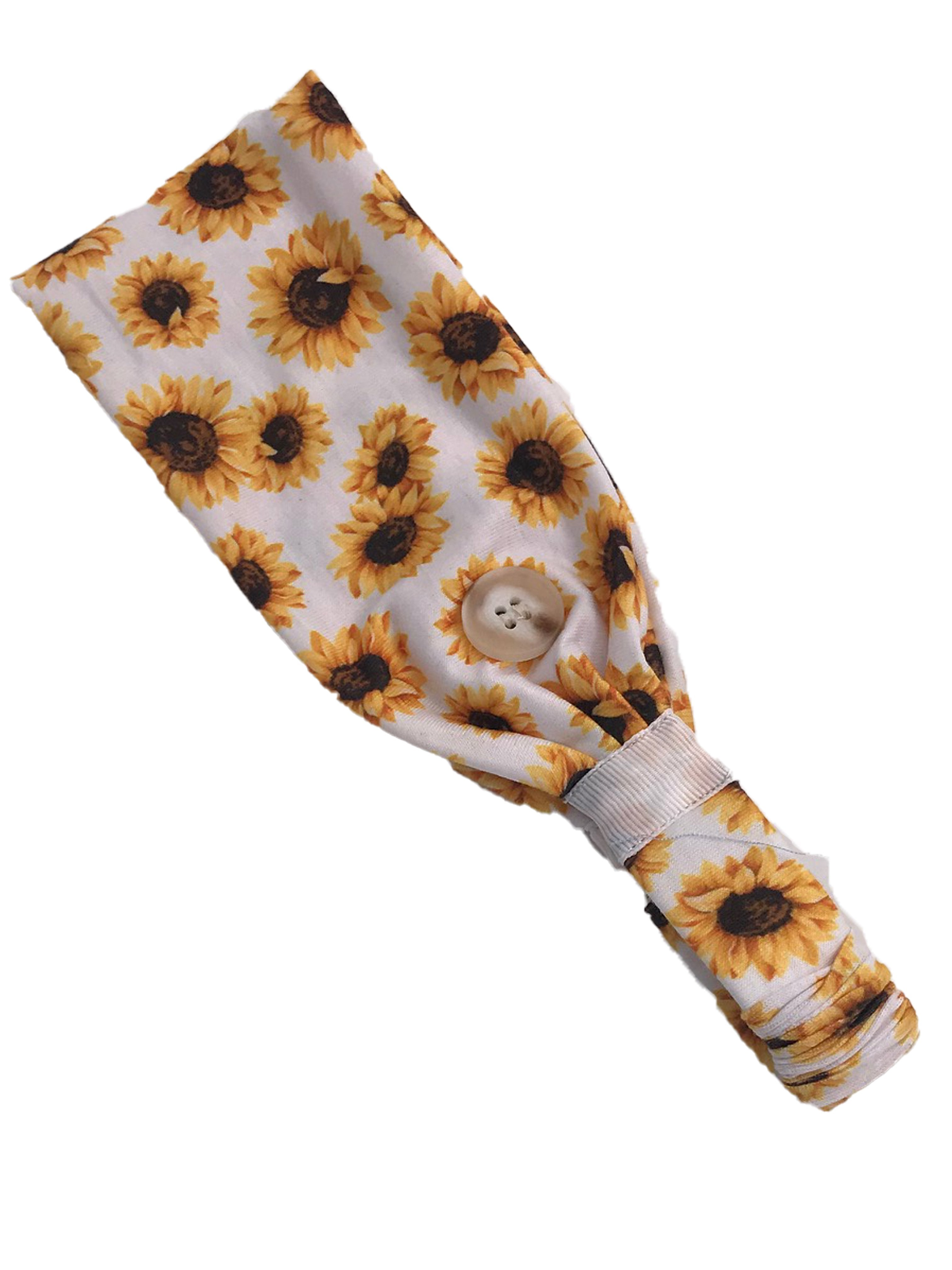 HB-2020 Adult Headband Sunflower White