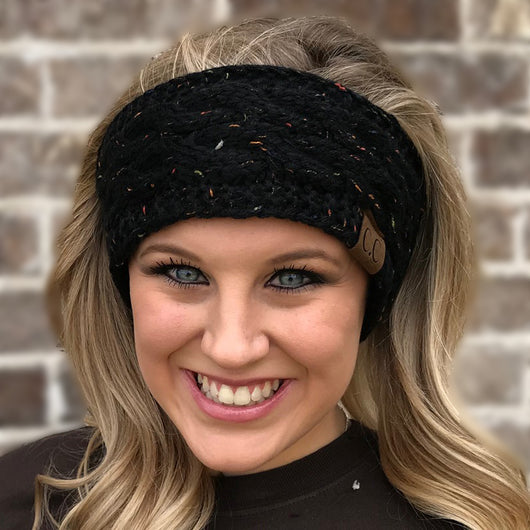 HW-33 BLACK SPECKLED HEADWRAP