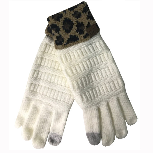G-45 C.C Ivory Gloves with Leopard cuff