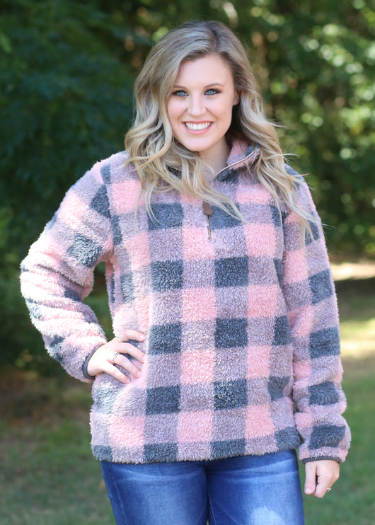 SH-4588-2 BUFFALO PLAID INDI PINK-DARK MELANGE GREY