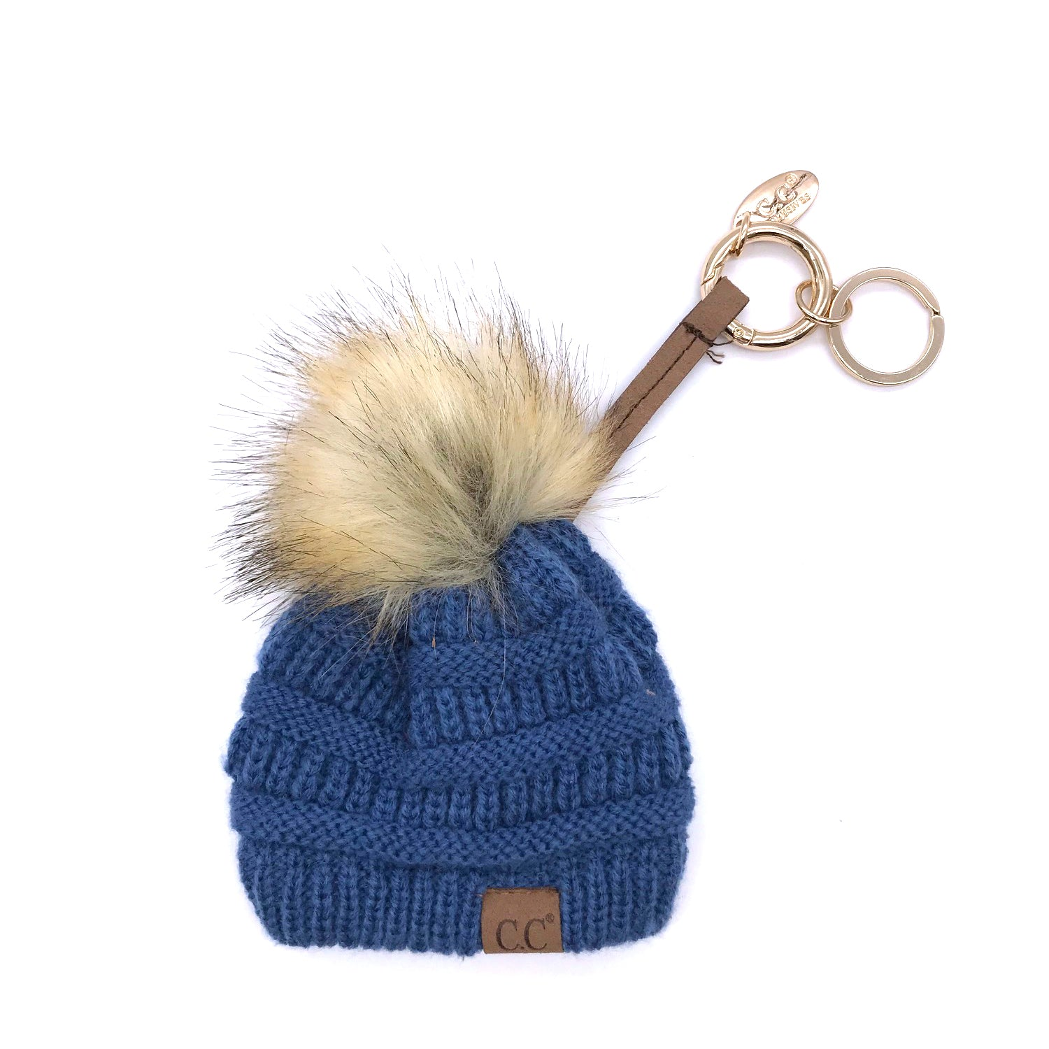 KB-43 Keychain W/FAUX FUR POM -Dark Denim