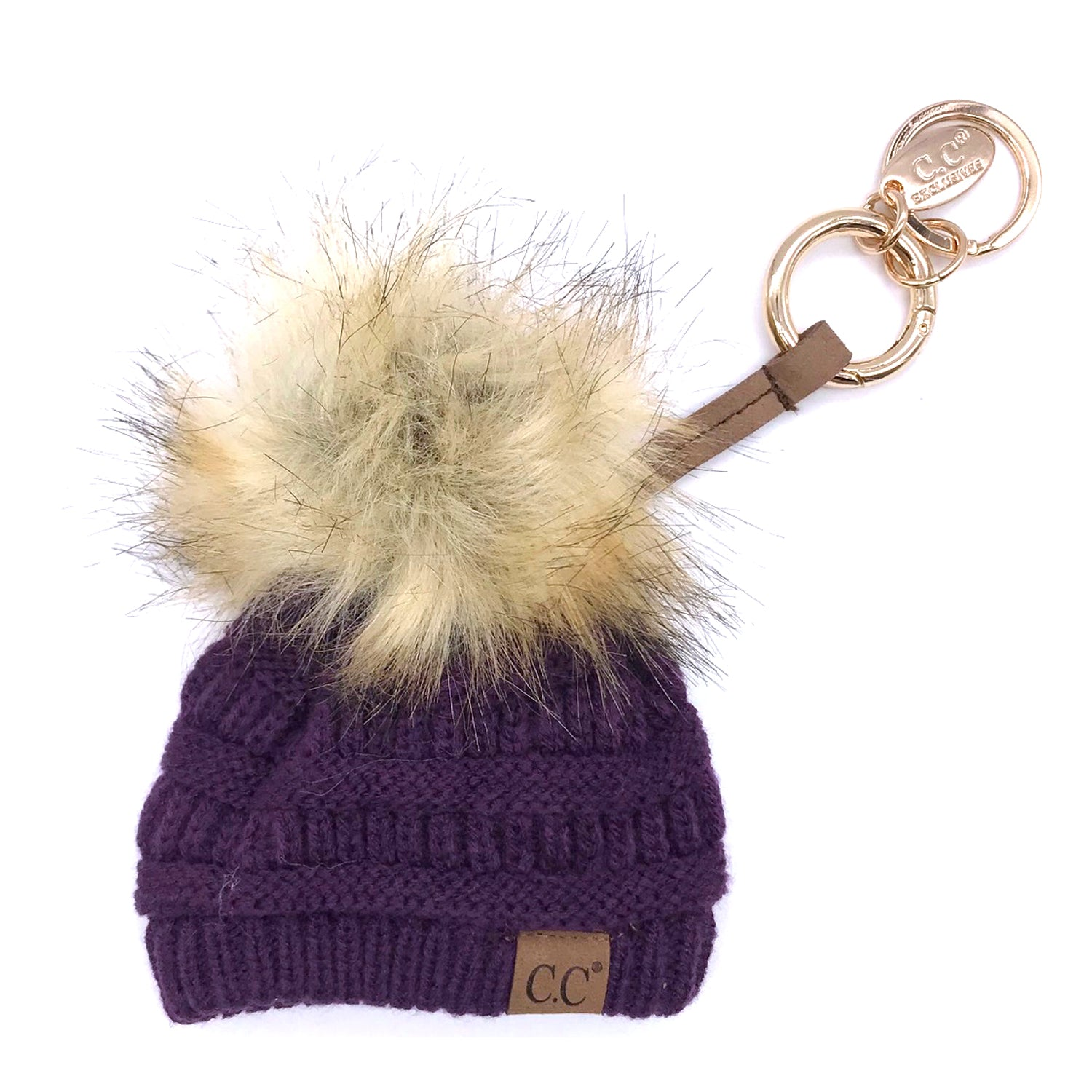 KB-43 Keychain W/FAUX FUR POM -Dark Purple